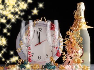обои Скоро Новый Год,   бокалы и шампанское фото