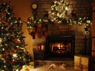 обои Новогодняя елка,   спящий кот и подарок у камина фото