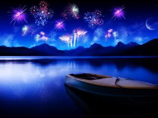 обои Лодка на реке,   салют вдалеке фото