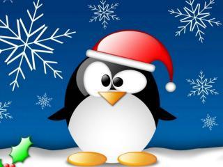обои New Year,   пингвин в шапке деда мороза фото