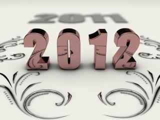 обои New Year,   хромированный 2012 и узор фото