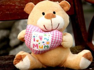 обои медведь с сердцем,   я люблю свою маму фото