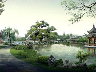 обои Китайский пейзаж,   беседки,   пруд фото