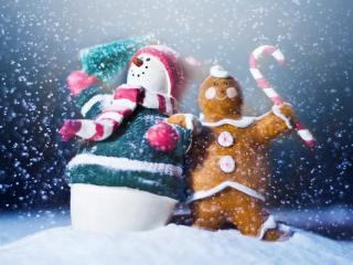 обои для рабочего стола: Игрушечный снеговик с дружком