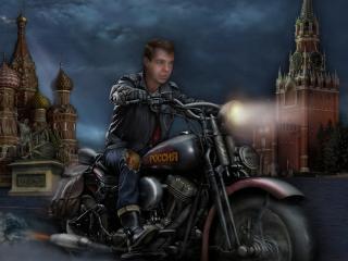 обои Медведев на байке у Кремля фото