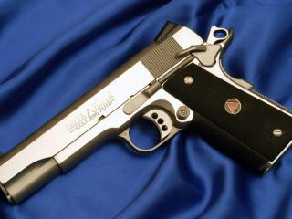 обои Пистолет кольт,   хром фото