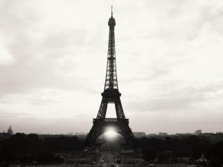 обои Эйфелева башня на черно белом фото фото