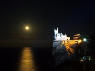 обои для рабочего стола: Крым,   Ласточкино гнездо ночью под луной