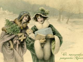 обои Ретро открытка с рождеством фото