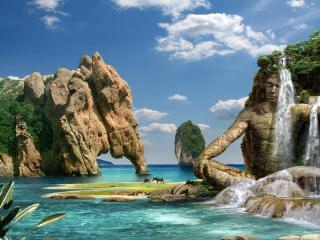 обои Остров причудливых скал фото