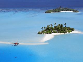 обои Самолет у тропического рая фото