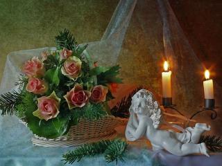 обои Свечи,   розы,   хвоя,   ангел фото