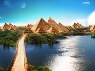 обои Египетские пирамиды и мост через реку фото
