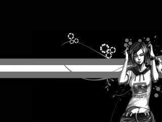 обои Черно-белое изображение девушки фото