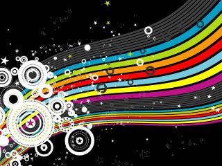 обои Черный фон,   круги,   цвета радуги фото