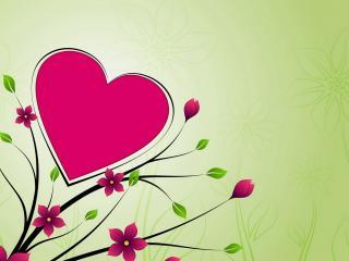 обои Большое сердечко на кусте цветов фото