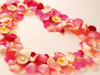 обои Сердечко из лепестков роз со свечами фото