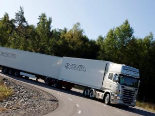 обои Scania r440 автопоезд поворот фото