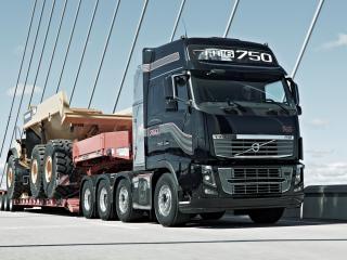 обои Volvo,  вольво 750 с грузом на мосту фото