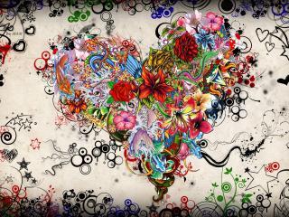 обои Яркая картинка с цветами и узорами фото