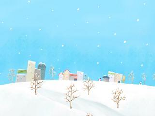 обои Зимний город,   снег фото