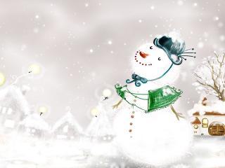 обои Романтичный снеговик фото