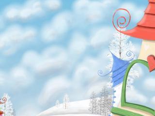 обои Сказочная зима,   купола фото