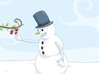 обои Снеговик срывает вишенки фото