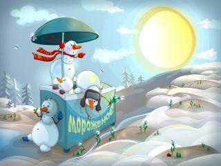обои Снеговики тоже любят мороженое фото