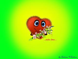 обои Сердечко с любовью и цветами фото