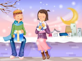 обои Мальчик и  девочка с подарками фото
