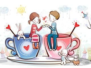 обои Мальчик и девочка за чаепитием фото