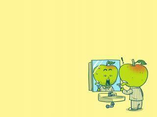 обои Небритое яблоко порезалось фото