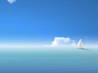 обои Парусник на голубом горизонте фото