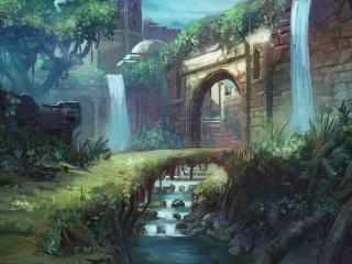 обои Водопад и речка у входа в город фото