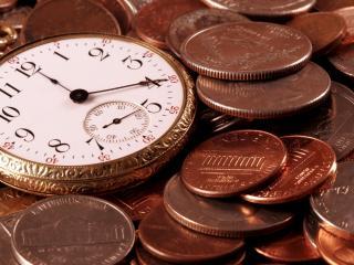 обои Карманные часы и деньги фото
