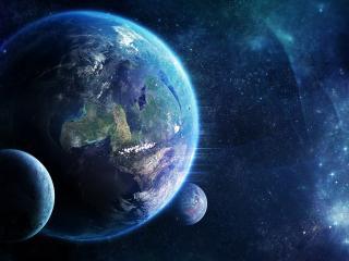 обои Живая планета с двумя спутниками фото