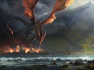 обои Дракон поджигатель заметил людей фото