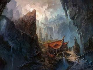 обои Город в горах,   китайский стиль домов фото