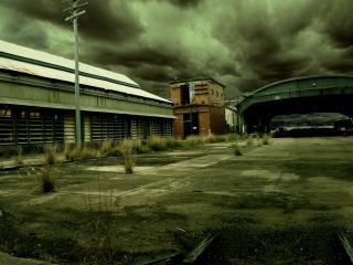 обои Промышленные здания в пасмурную погоду фото