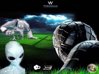 обои Человек паук,   Робот и инопланетянин фото
