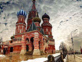 обои Красивая панорама неба и Москвы фото