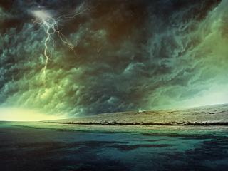 обои Гроза с молнией на берегу моря фото