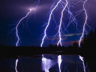 обои Большая молния ночью над лесом фото