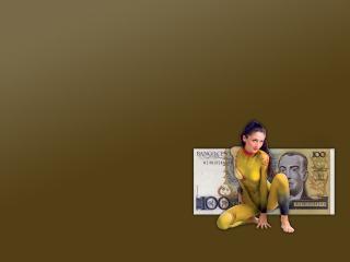 обои Девушка и иностранная банкнота фото
