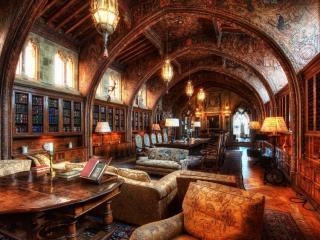 обои Большая библиотека с резными стенами фото