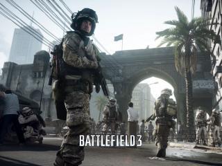 обои Battlefield 3,   солдат на поле сражений фото