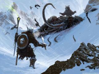 обои The elder scrolls,   воин и медведь у мертвого мамонта фото