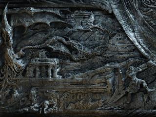 обои The elder scrolls,   серый барельеф фото
