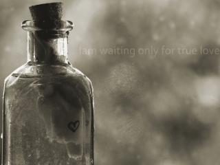 обои Бутылка с запиской и надпись фото